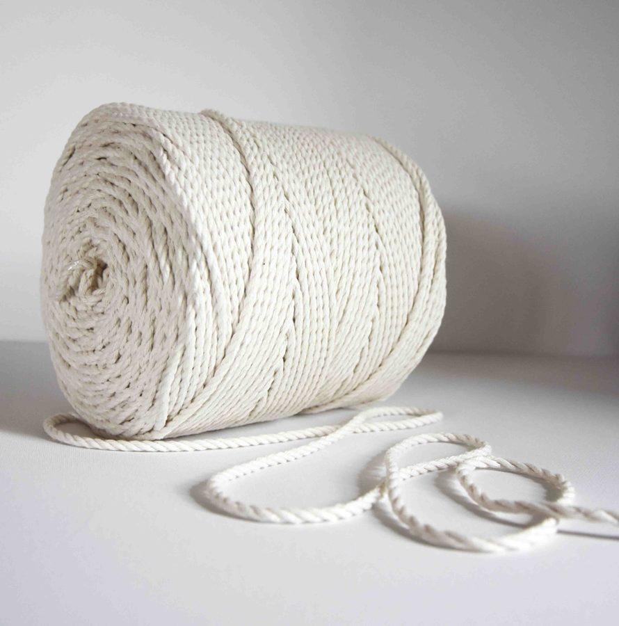 4 mm medvilninė virvė. Natūrali