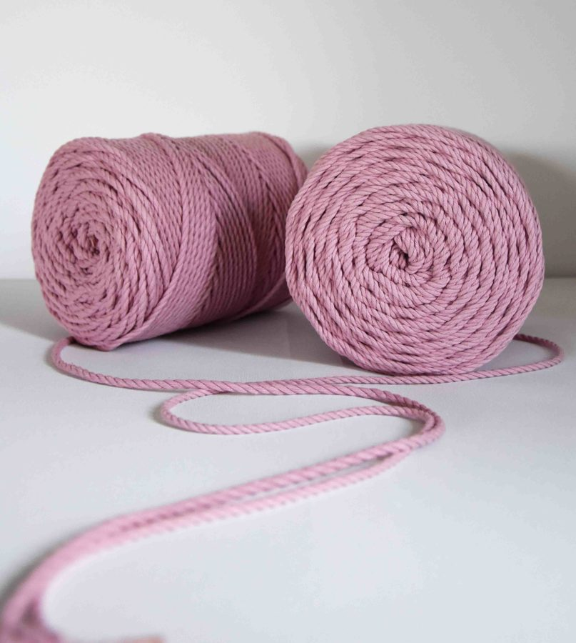Three-ply cotton cord. Soft pink