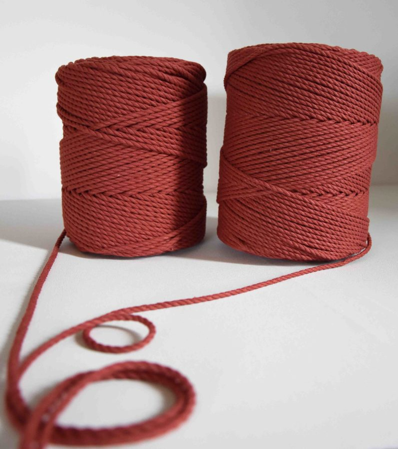 Three-ply cotton cord. Rustic red