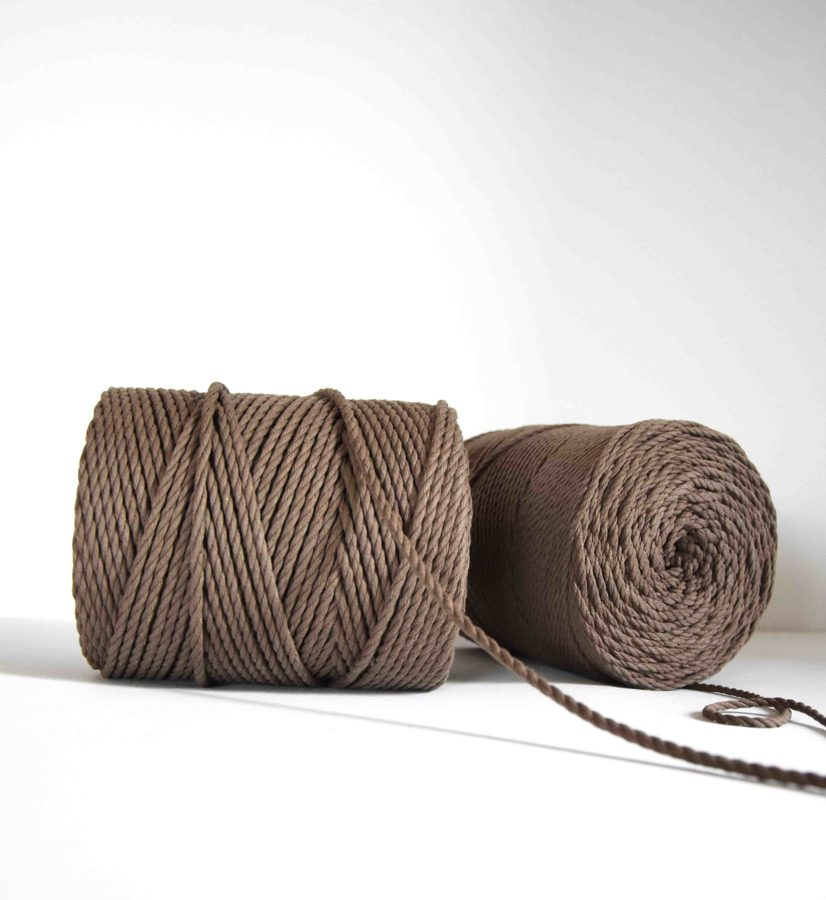 Three-ply cotton cord. Brown