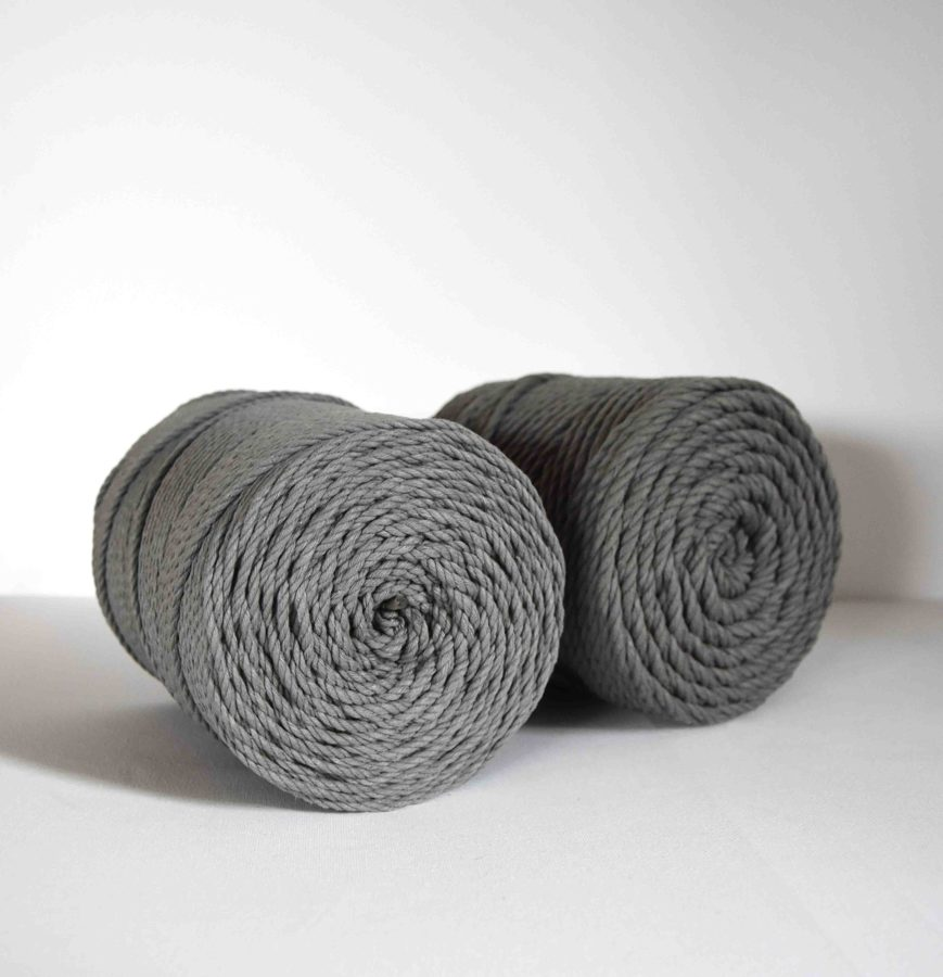 Three-ply cotton cord. Dark grey