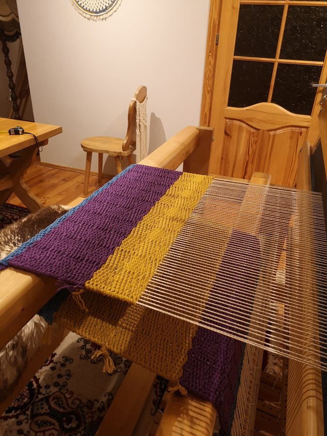 Handwoven rug full of bright colours