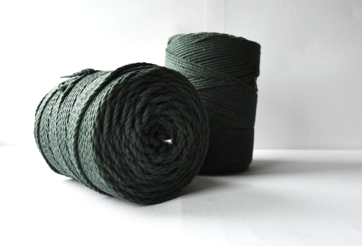 Sukta medvilninė virvė. Tamsiai žalia