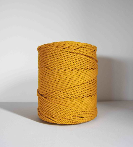 Three-ply cotton cord. Mustard