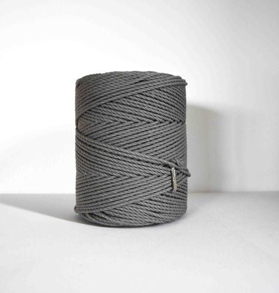 Three-ply cotton cord. Dark grey