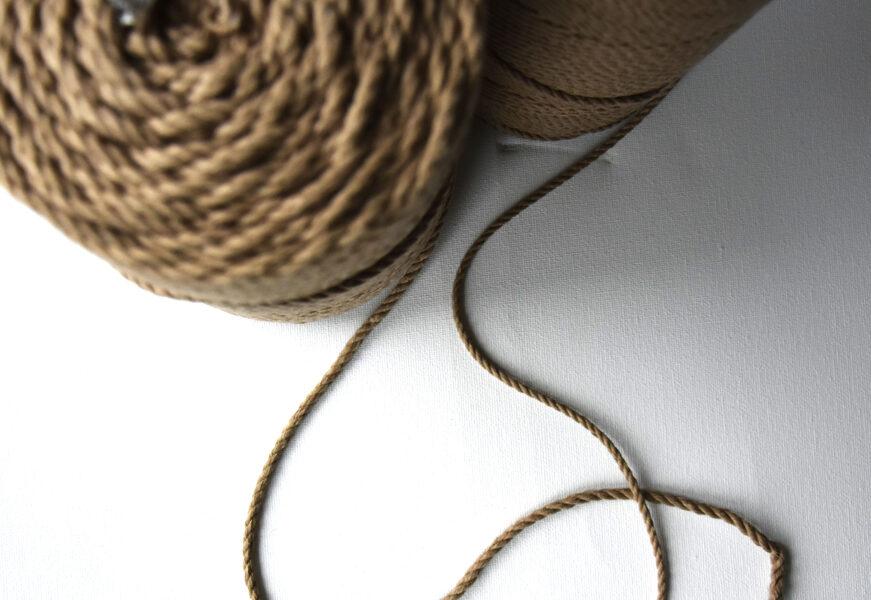 Three-ply cotton cord. Sand