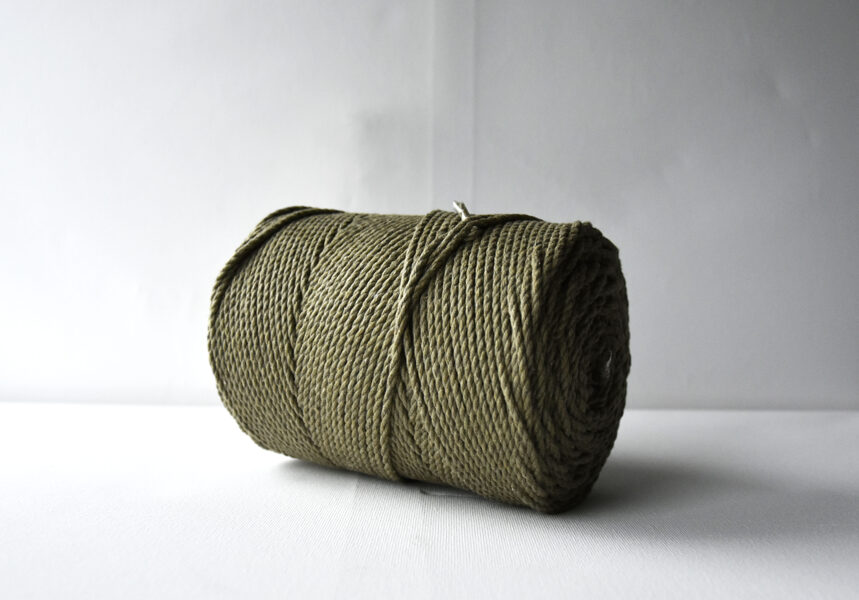 Three-ply cotton cord. Moss green