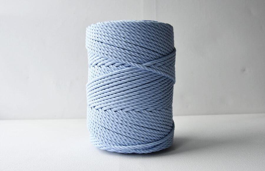Three-ply cotton cord. Sky blue